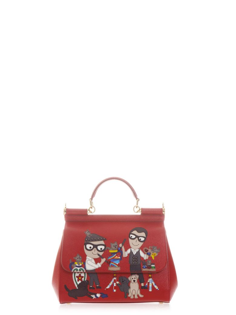 Dolce   Gabbana Small Sicily Dauphine Leather Bag In Red   ModeSens 6d6e3497c5