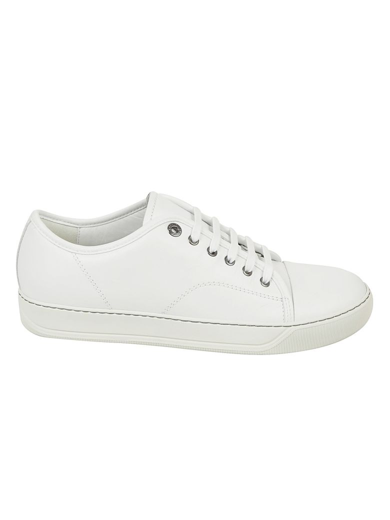 Lanvin Cap Toe Leather Sneakers White Modesens
