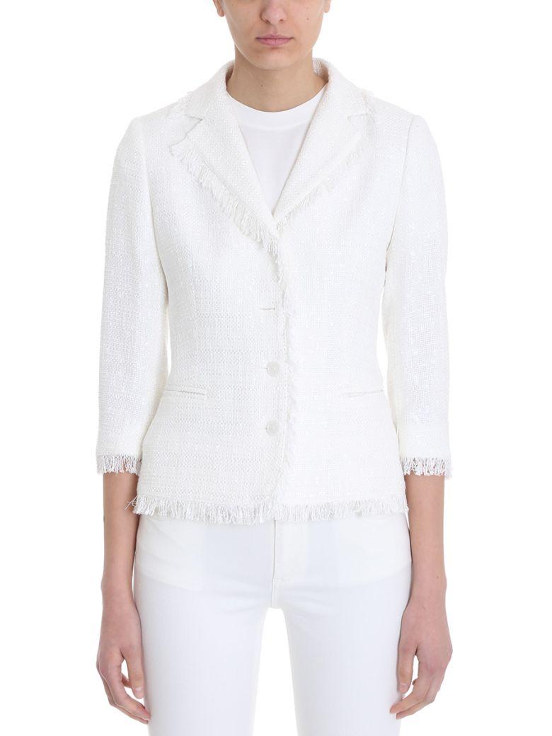 0205 Adele White Cotton-Blend Boucl? Jacket