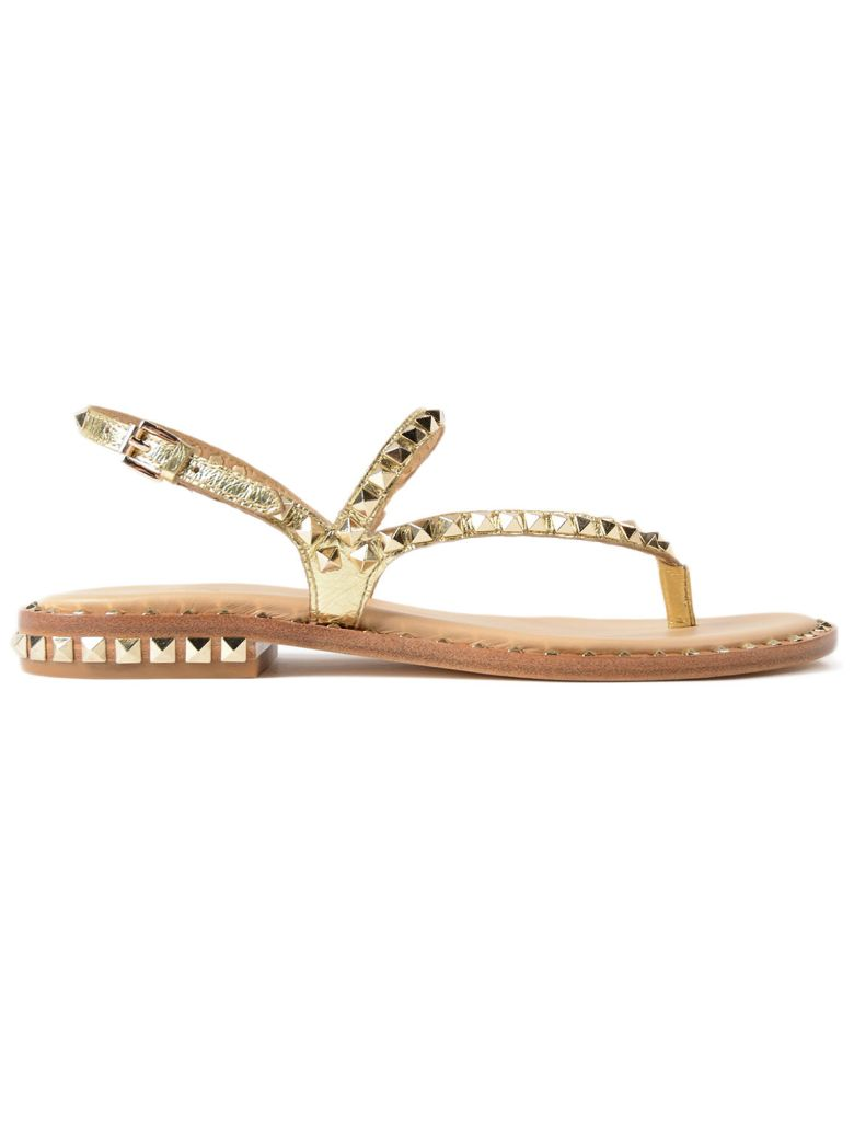 a36f49ee7cef Ash Peps Sandals In Gold-Tone Leather With Studs In Rocher Ariel ...