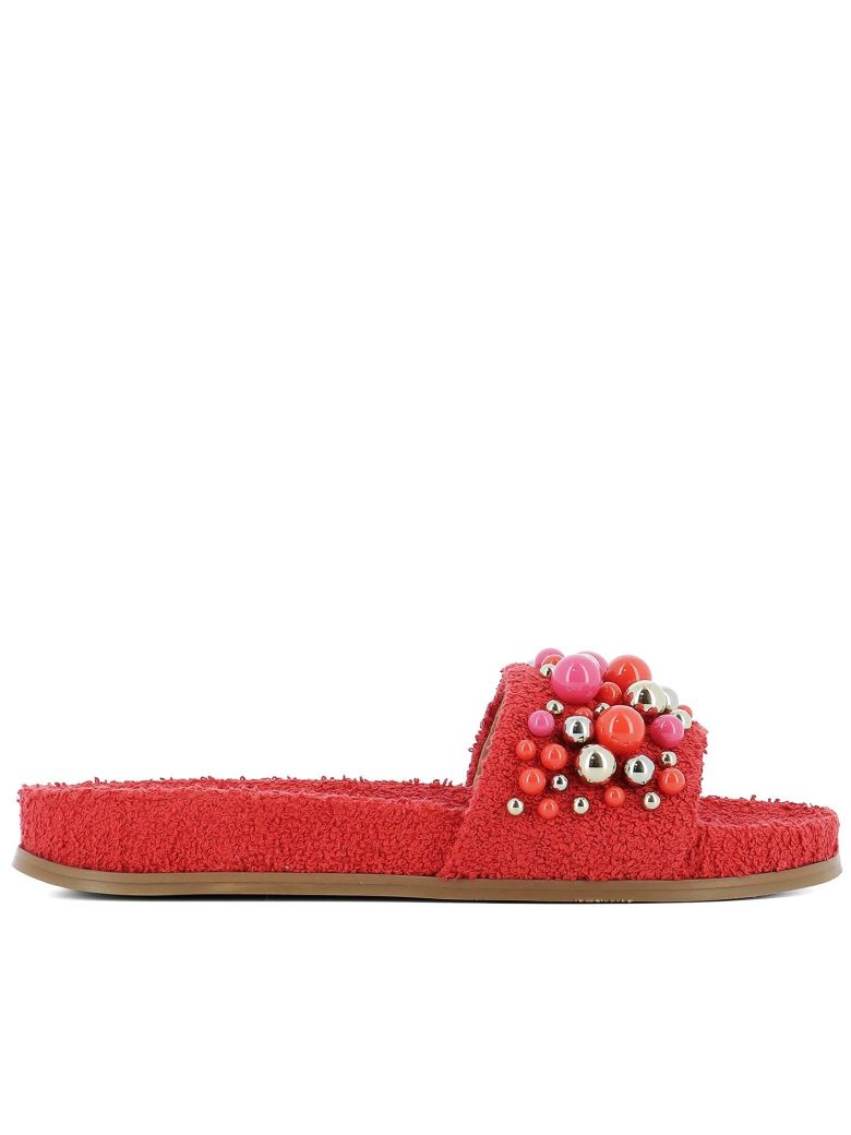 Aquazzura Red Sponge Sandals - Red