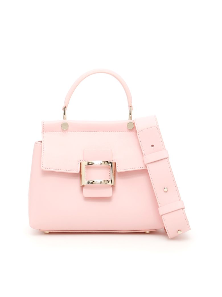 Viv' Leather Top Handle Bag in Nude