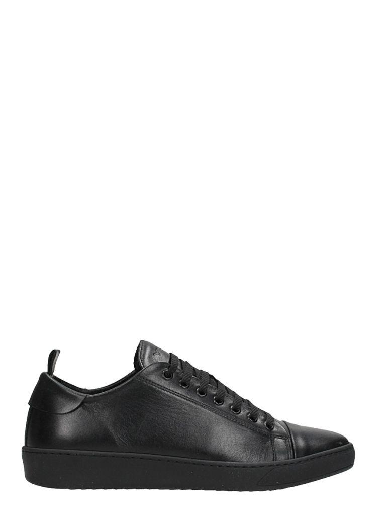YLATI FOOTWEAR SORRENTO LOW BLACK LEATHER SNEAKERS