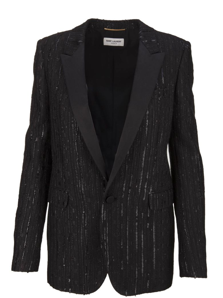 SEQUIN-EMBELLISHED TWEED BLAZER