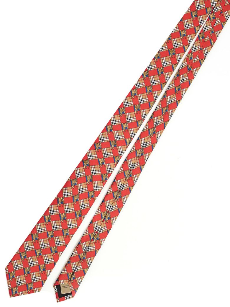BURBERRY Modern Cut Equestrian Knight Tie, Abright Red