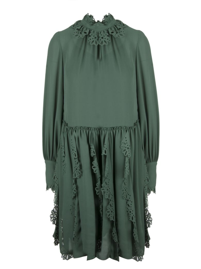 Italist Best Price In The Market For See By Chlo Frilly Laser Cut Longdress Trim Dress Deep Green Marble 3h2
