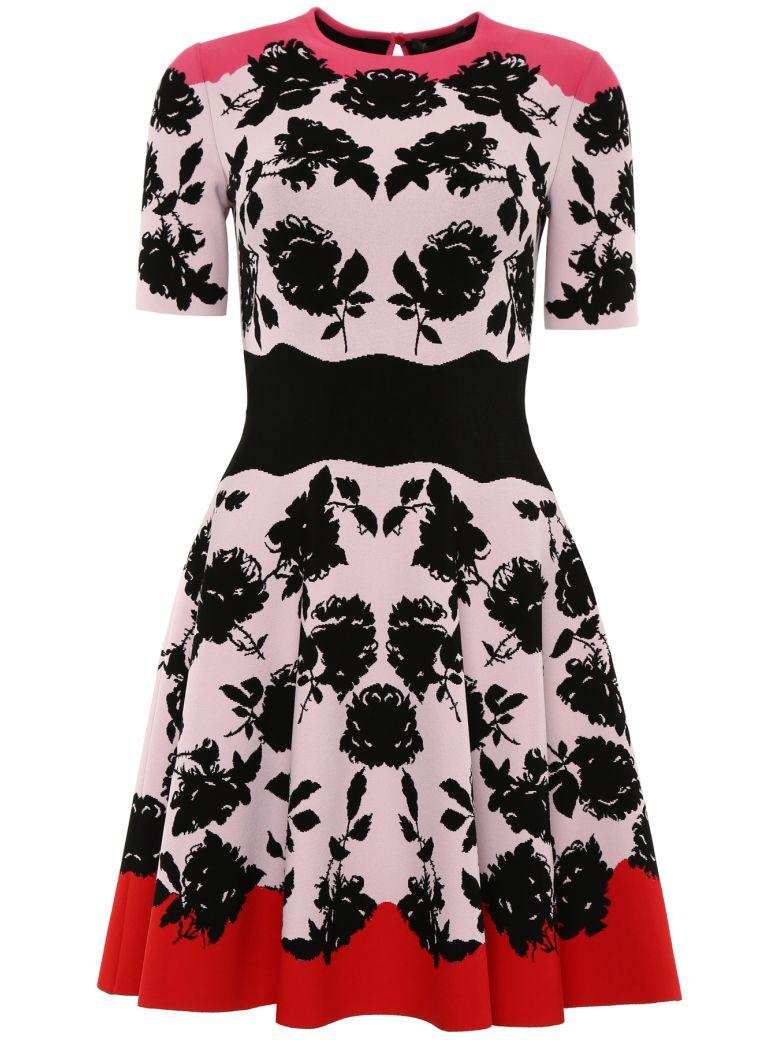 Alexander McQueen Jacquard Knit Dress - ROSA BLACK RED LIPSTICK Rosa