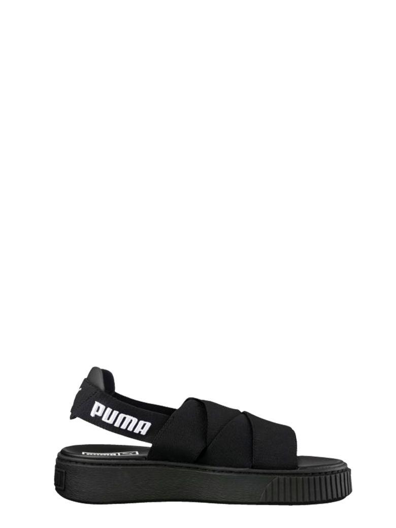 Puma Black Elastic Straps Sandals In