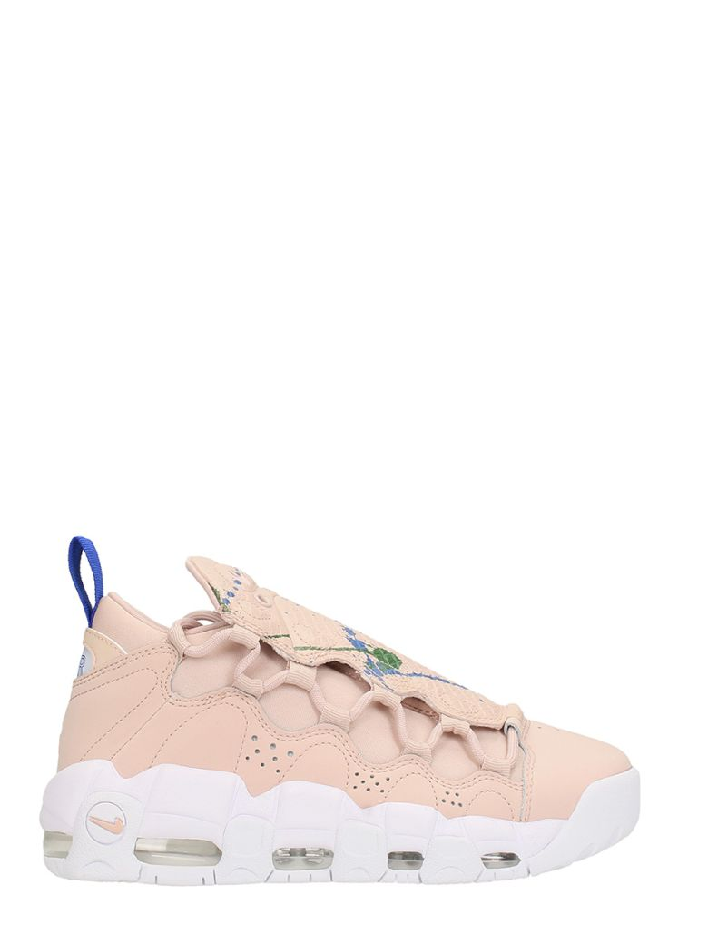 Air More Money Pink Leather Sneakers, Rose-Pink
