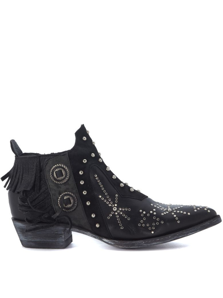 MEXICANA CORUS BLACK LEATHER TEXAN WITH STUDS AND FRINGES