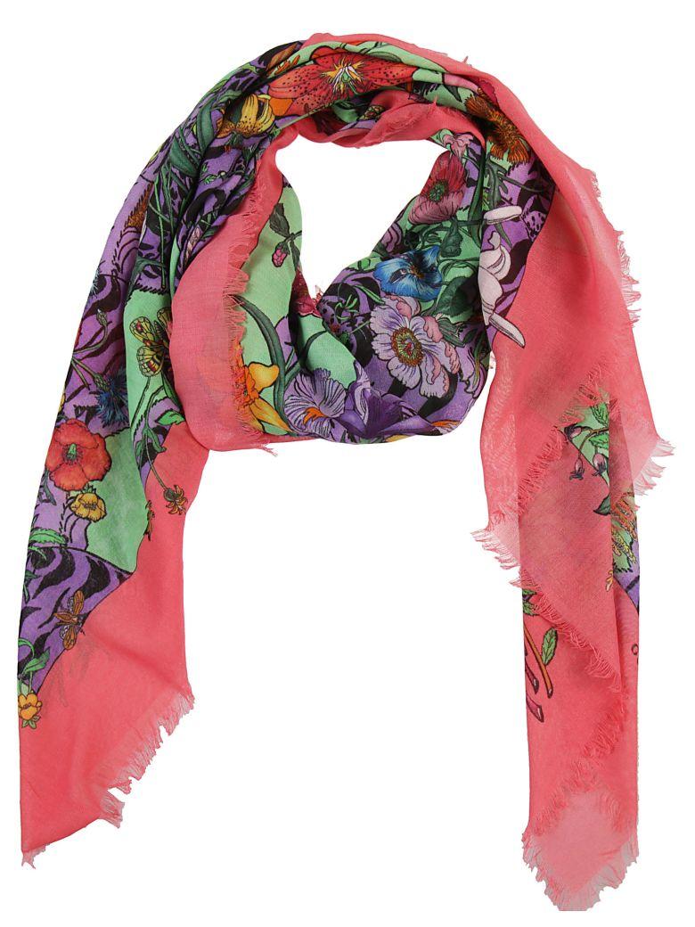 Nueva Bufanda De La Flora De Impresión - Rosa Y Púrpura Gucci iVai6BoKoX