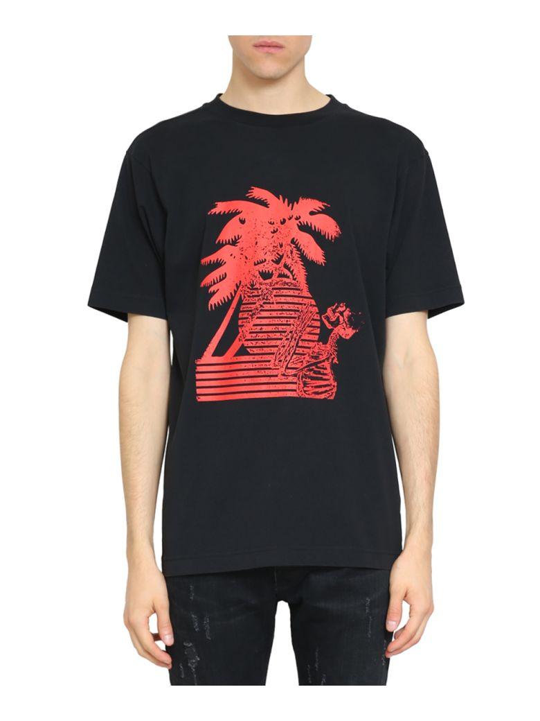 PALM ANGELS Skeleton- & Palm-Tree-Print Cotton T-Shirt, Nero