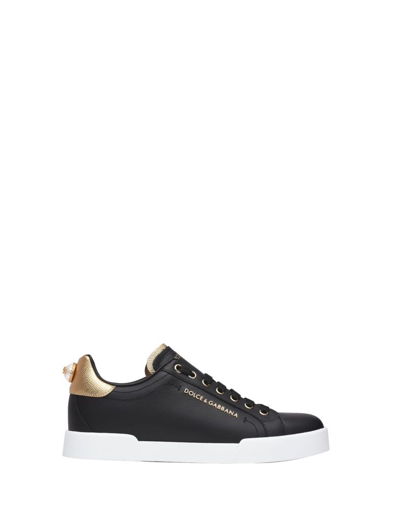 DOLCE & GABBANA BLACK AND GOLD SNEAKERS