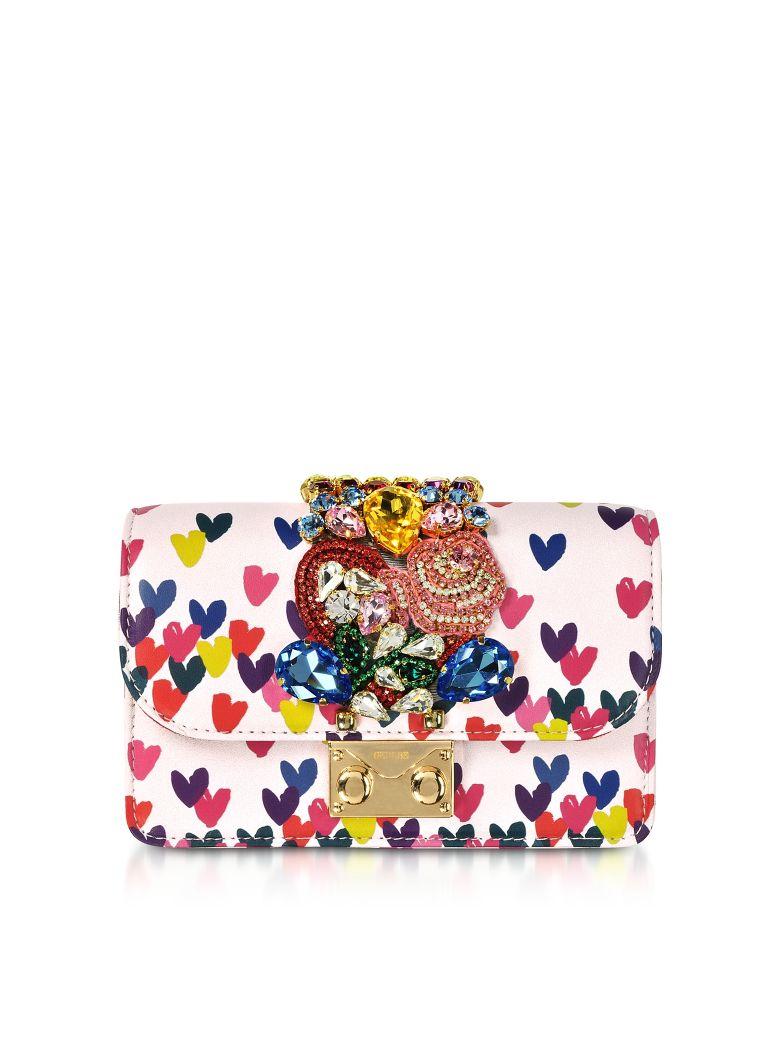 Mini Cliky Pink Nappa Printed Hearts Clutch W/Chain Strap