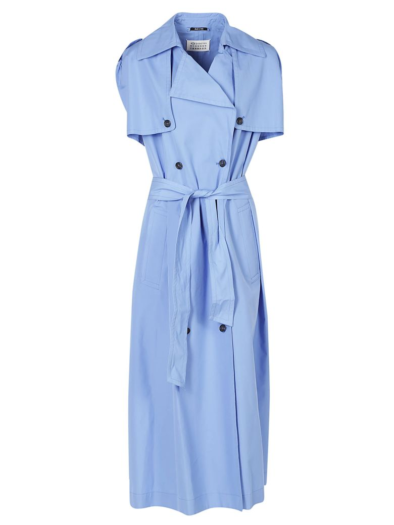 BLUE COTTON SLEVELEES TRENCH DRESS