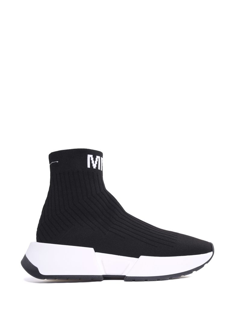 Logo-Jacquard Ribbed Stretch-Knit Sneakers, Nero