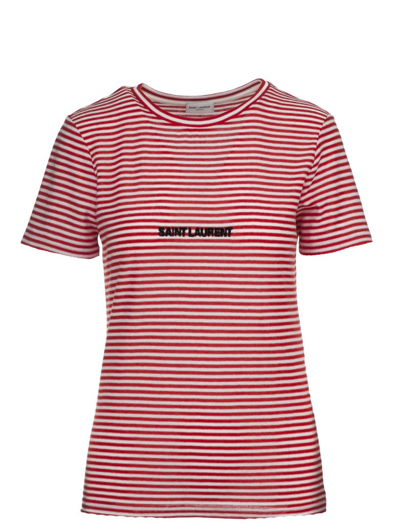 Saint laurent saint laurent logo embroidered striped t for Saint laurent shirt womens