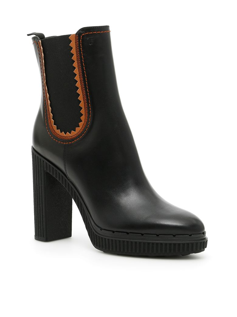 LEATHER BOOTIES WITH ELASTIC SIDES