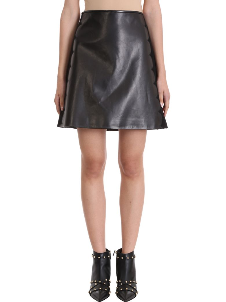 BLACK SUEDE AND CALF LEATHER SKIRT
