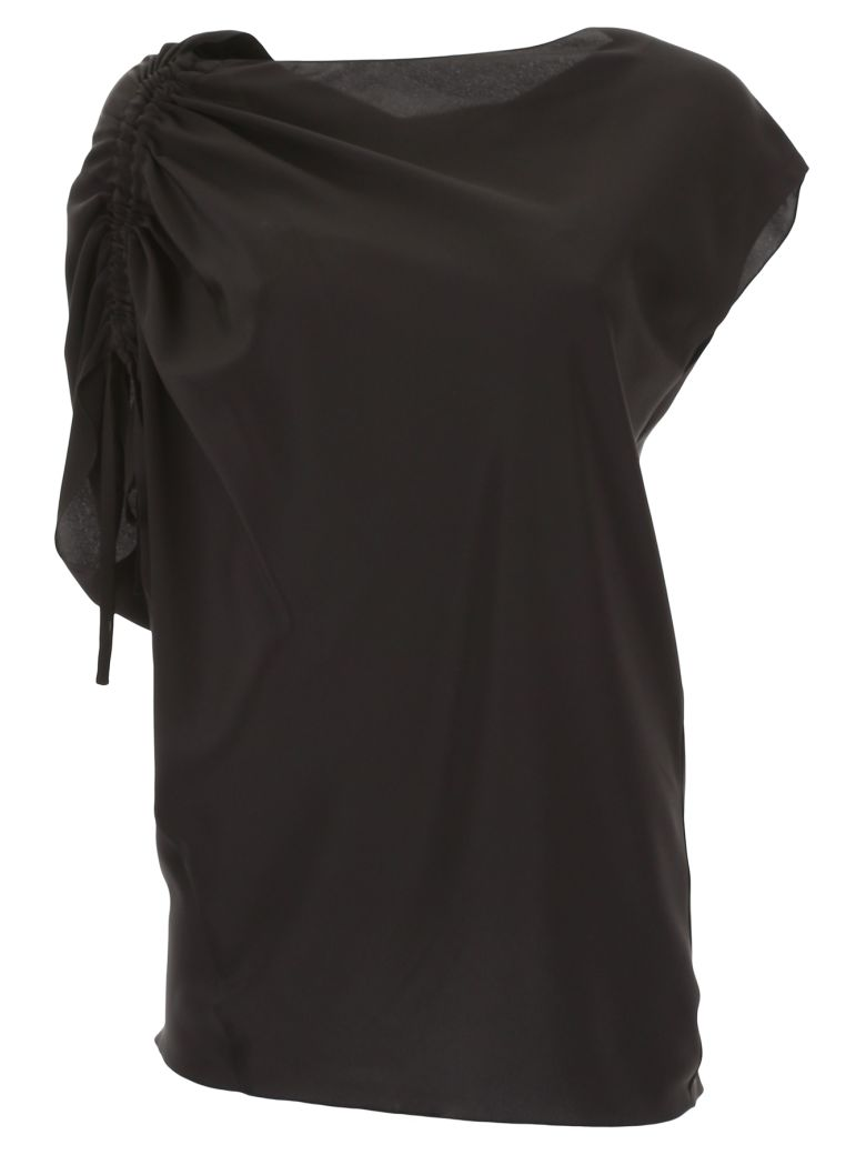 SILK BLOUSE WITH DRAWSTRING
