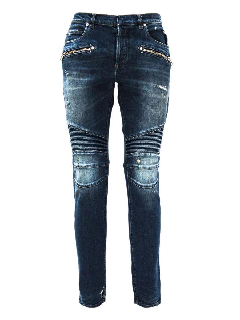 2ccc66f0b Balmain Slim-Fit Blue Cotton Denim Biker Jeans In Bleu/Blue 155 ...