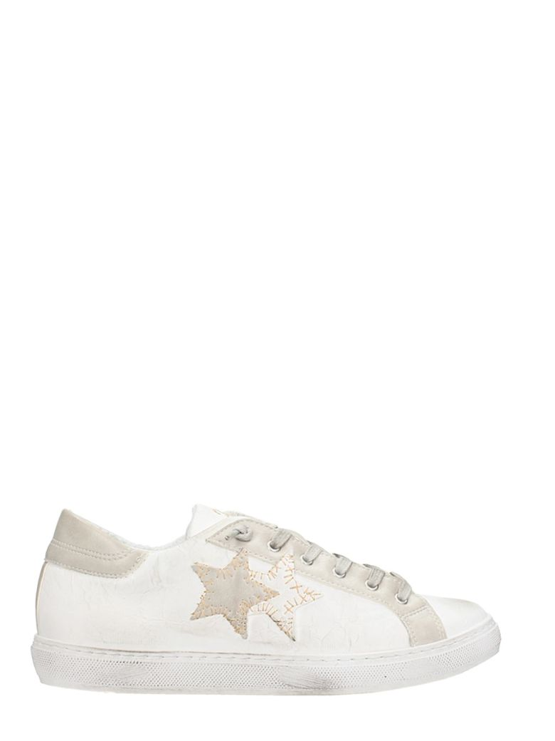 2STAR WHITE LEATHER SNEAKERS