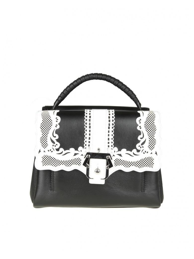 PETITE FAYE BAG IN BLACK LEATHER WITH EMBROIDERY DET