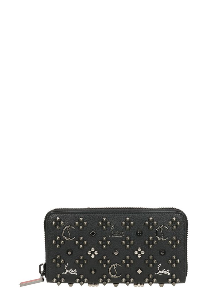 Panettone Logo-Detail Studded Leather Zip-Around Wallet