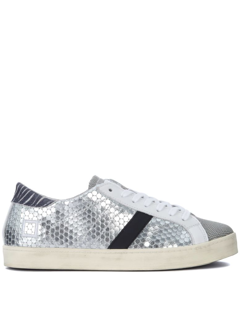 D.A.T.E. HILL LOW PONG SILVER LAMINATED HONEYCOMB LEATHER SNEAKER