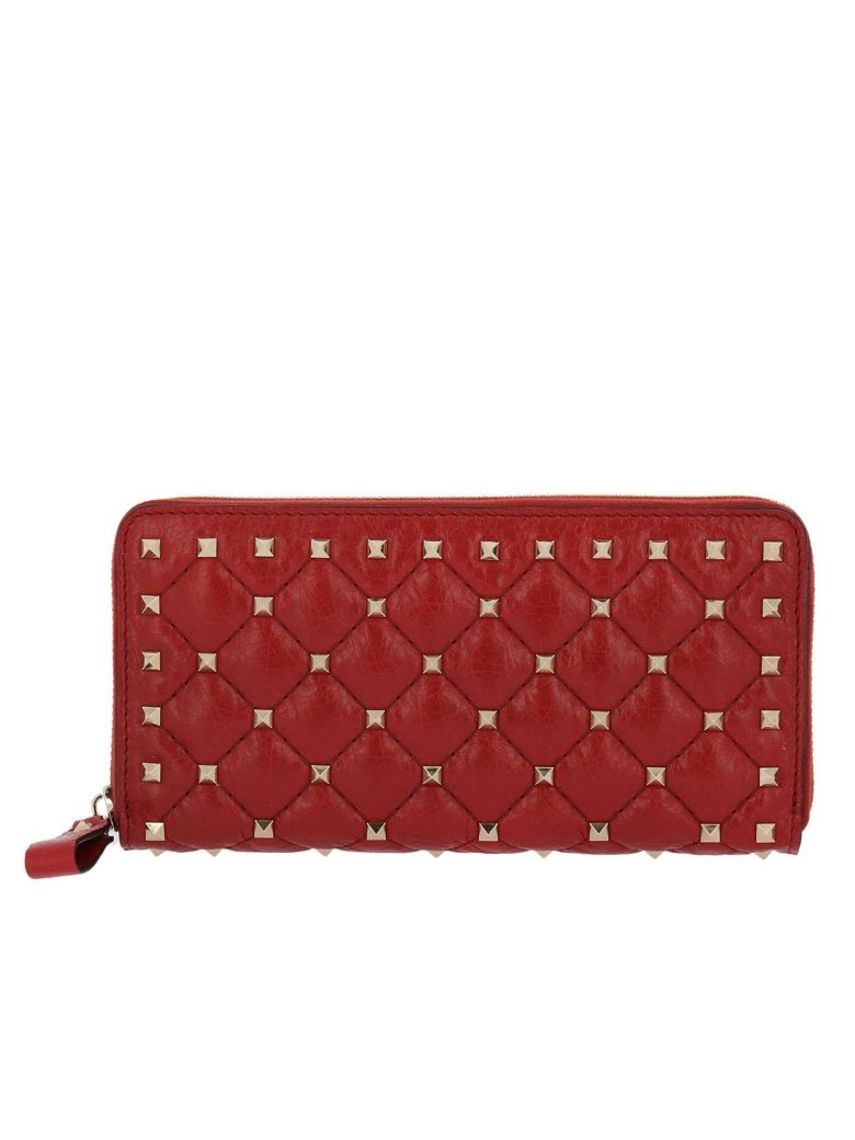 Valentino  WALLET VALENTINO ROCKSTUD SPIKES WALLET WITH ZIP AROUND IN QUILTED LEATHER WITH METAL STUDS