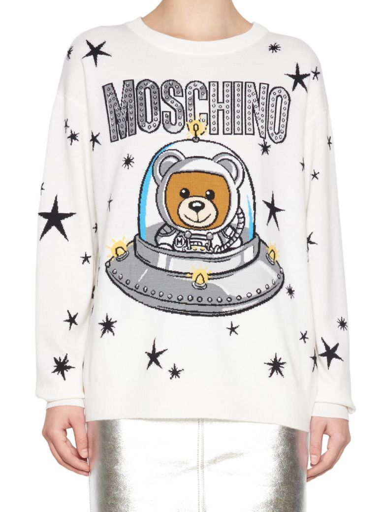 Teddy Logo Print Sweater, White