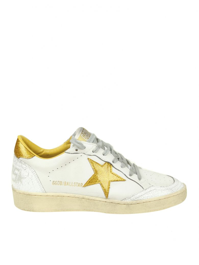 BALL STAR SNEAKERS IN WHITE LEATHER WITH GLITTER DETAIL