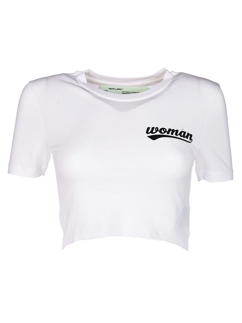 Off-White Cottons OFF-WHITE WOMAN SLOGAN CROP T-SHIRT