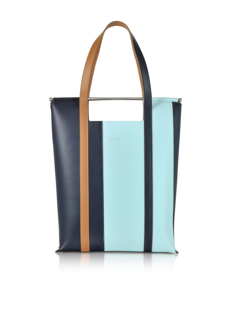 VERTICAL STRIPED PATENT LEATHER AND CALFSKIN GREAT TOTE WITH HANDLES