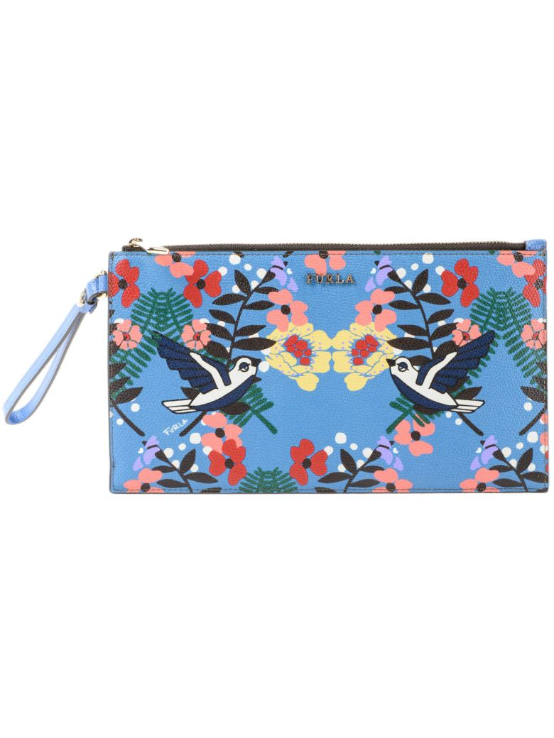BIRDS AND FLORAL PRINT CLUTCH