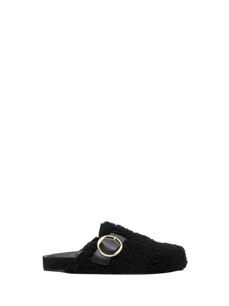 Mirvin Backless Shearling Clogs in Black