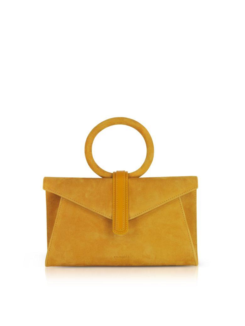 COMPLET MUSTARD YELLLOW SUEDE VALERY MINI CLUTCH BAG W-SHOULDER STRAP