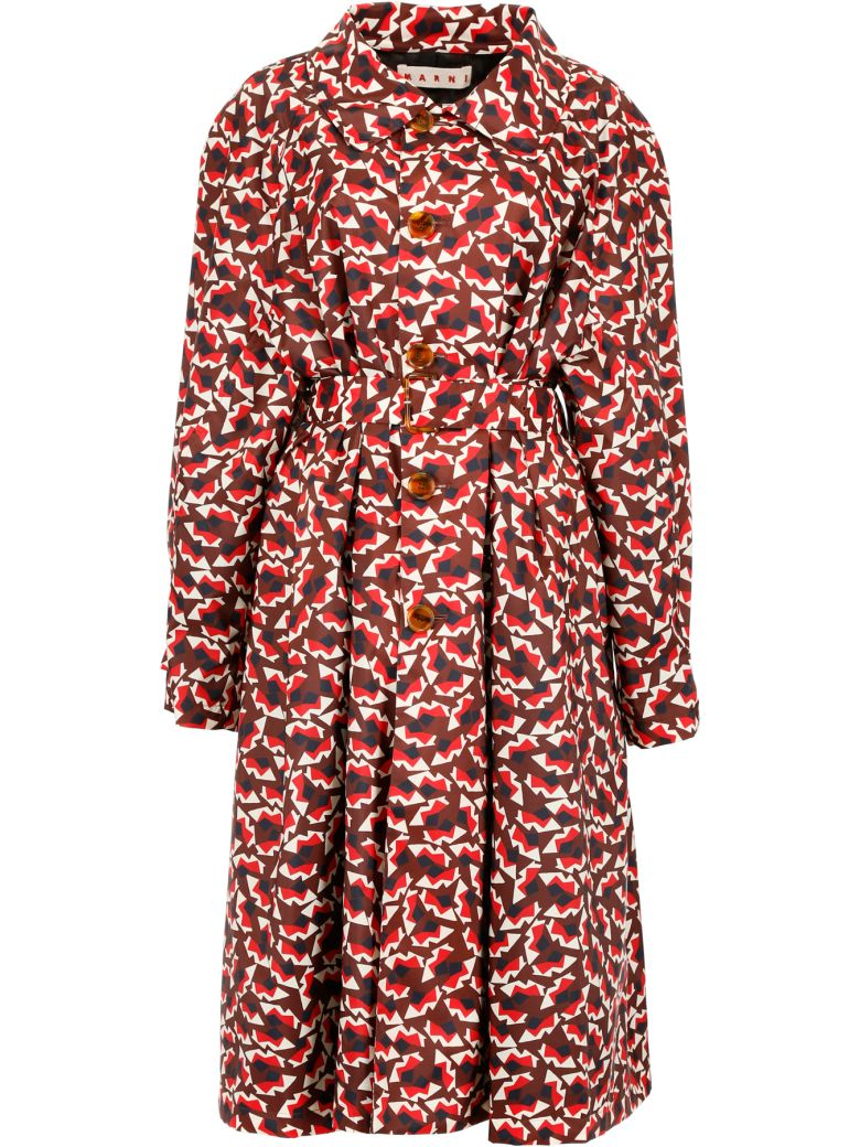 Geometric Patterned Trench Coat in Multicolour