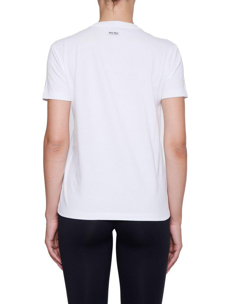 Miu miu embroidered cotton jersey t shirt white modesens for Miu miu t shirt