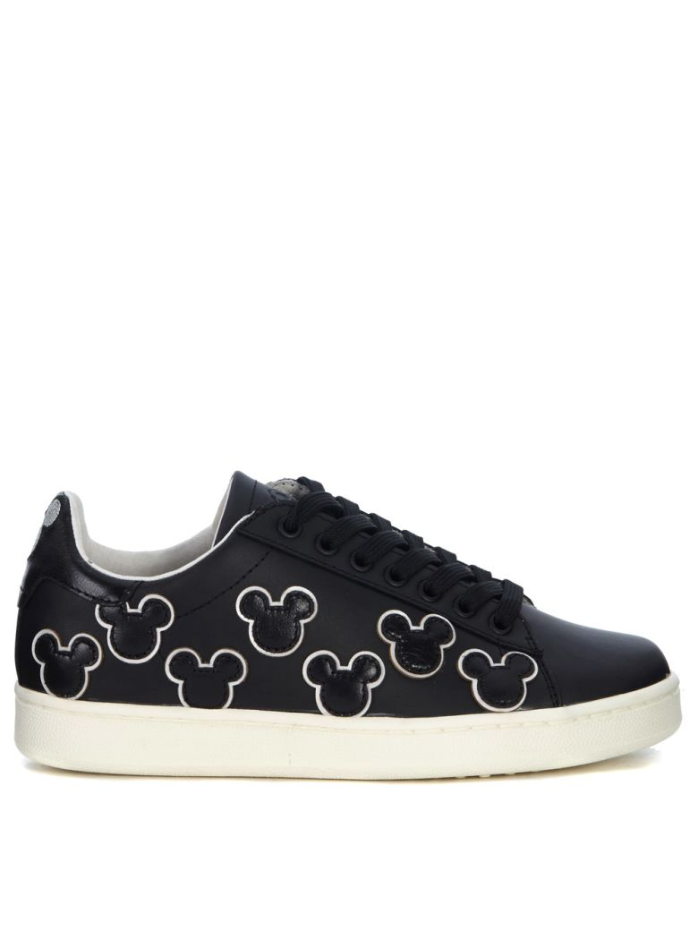 M.O.A. MOA MICKEY MOUSE BLACK LEATHER SNEAKER