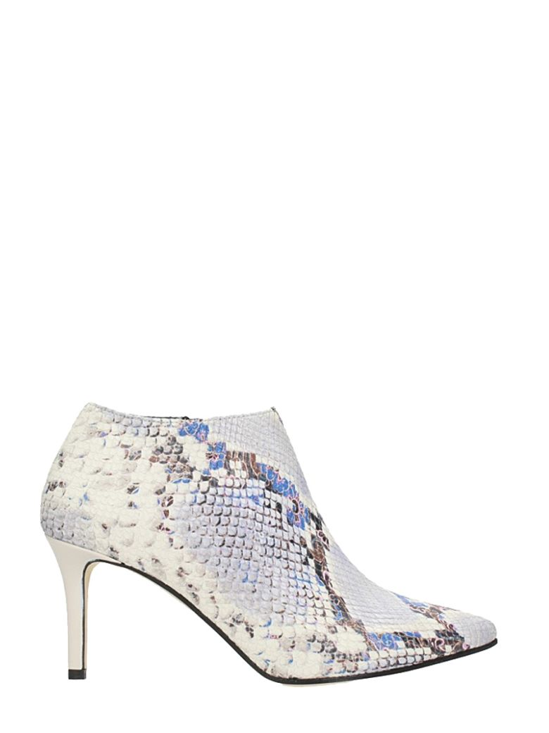 PYTHON STONE CALF LEATHER ANKLE BOOTS