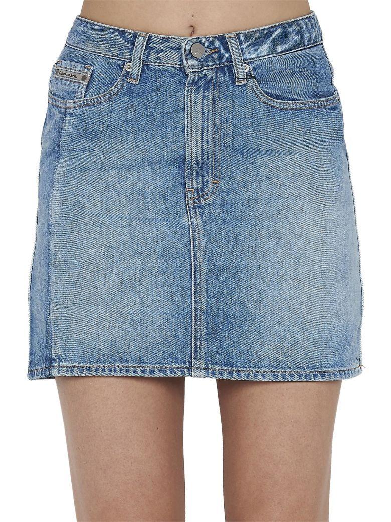 CALVIN KLEIN JEANS Denim High Rise Skirt in Blue