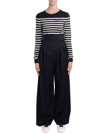 SEMICOUTURE Billy Joy Overall With Blue And White Sweater And Trousers