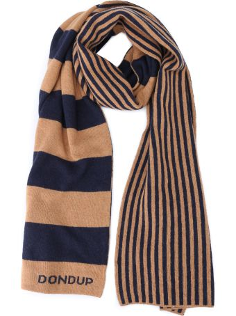 Dondup Striped Optic Print Wool And Cashmere Scarf