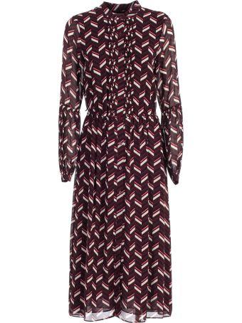 MICHAEL Michael Kors Dress L/s Midi Fant Chevron W/belt