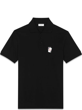 Saint Laurent Playing Card Polo In Black Pique' Cotton