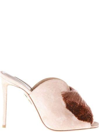 Aquazzura Lotus Blossom Mule 105 Pink Suede Sandals