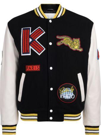 Kenzo Varsity Black Wool Fabric And White Leather Jacket