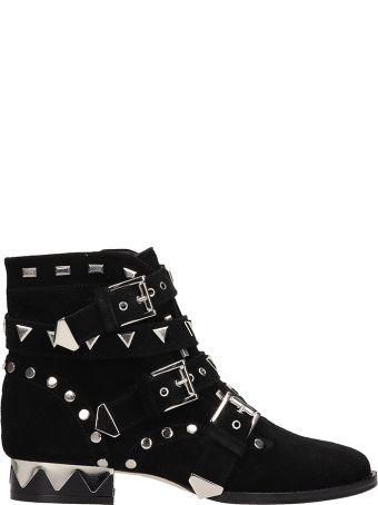 Sophia Webster Riko Biker Black Suede Leather Ankle Boots