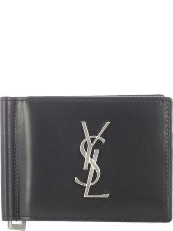 Saint Laurent Plate With Logo, Card Slots And Silver Metal Components